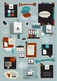 Set infographics flat design elements, charts, folders, stickers, speech bubbles, school elements. Stock Photography