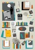 Set infographics flat design elements, folders, stickers, speech bubbles, school elements. Stock Image