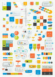 Set of infographics flat design elements. Various color schemes, boxes, speech bubbles, charts. Royalty Free Stock Images