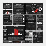 Set of infographics and interface elements in simple outline style. Useful for annual reports and web design Royalty Free Stock Images