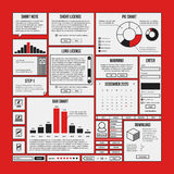 Set of infographics and interface elements in simple outline style. Useful for annual reports and web design Royalty Free Stock Photos
