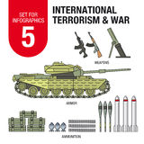Set for infographics # 5: international terrorism and war. Ammunition and weapons. Stock Photos