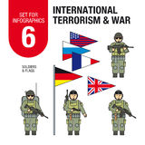 Set for infographics #6: international terrorism and war. Islamic militants and terrorists. Soldiers and military equipment. Royalty Free Stock Images