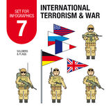 Set for infographics #7: international terrorism and war. Islamic militants and terrorists. Soldiers and military equipment. Royalty Free Stock Photo