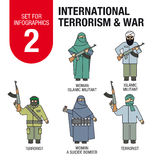 Set for infographics # 2: international terrorism and war. Islamic militants and terrorists, woman suicide bomber. Royalty Free Stock Image