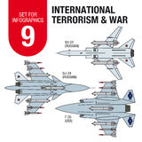 Set for infographics # 9: international terrorism and war. Military aircraft. Stock Images