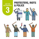 Set for infographics # 3: international terrorism and war. Protests, riots, police. Stock Images