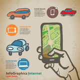 Set for infographics on navigation on mobile devices, smartphone Royalty Free Stock Photo