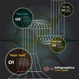 Set of infographics with sound waves on dark background Stock Photo