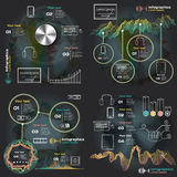 Set infographics with sound waves on a dark background Royalty Free Stock Photo