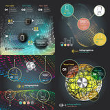 Set infographics with sound waves on a dark background Royalty Free Stock Photos