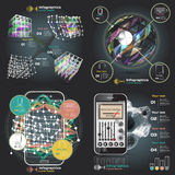 Set infographics with sound waves on a dark background Stock Photo