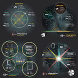 Set infographics with sound waves on a dark background Stock Photography
