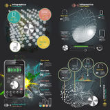 Set infographics with sound waves on a dark background Royalty Free Stock Photography