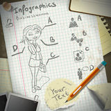Set for infographics with stationery and business  Royalty Free Stock Photography