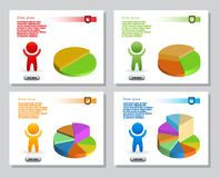 Set of infographics from stylized figure of man and of bulk isometric pie charts. For presentation, annual report. Set of simple infographics from stylized Stock Photos