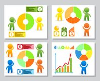 Set of infographics from stylized figure of man and pie charts. For presentation, annual report on financial theme. Set of simple infographics from stylized Stock Photo