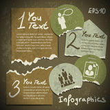 Set of infographics from torn pieces of paper in v Royalty Free Stock Photos