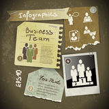 Set of infographics from torn pieces of paper Stock Photo