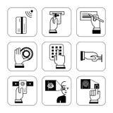 Set informacja podpisuje dla systemów bezpieczeństwa przy bankami, explanat obrazy royalty free