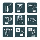 Set informacja podpisuje dla systemów bezpieczeństwa przy bankami, explanat zdjęcia royalty free