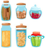 Set of ingredient glassware. Illustration of isolated set of ingredient glassware on white Stock Photos