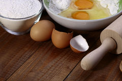 Set of ingredients and appliances for baking Stock Photography