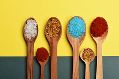 Set of ingredients for cooking on colorful background Royalty Free Stock Image
