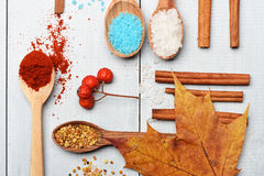 Set of ingredients for cooking on vintage background Stock Photos