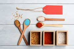 Set of ingredients for cooking on vintage background Royalty Free Stock Image