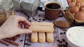 Set of ingredients for Italian dessert - Tiramisu cake stock footage