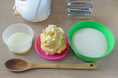 Set of the ingredients and item and tools for a making dough or cream royalty free stock image