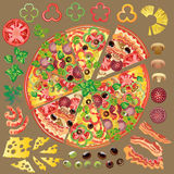 Set of ingredients for making pizza. Set of pizza and ingredients for making new ones Vector Illustration