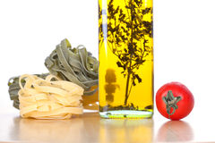 Set of ingredients and spice for pasta cooking Stock Images