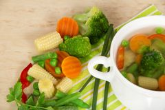 Set of ingredients for vegetable soup Stock Photography
