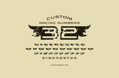 Set of initial hollow numbers in racing style Royalty Free Stock Image