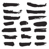 Set of ink black stripes and splashes on white background. Stock Images