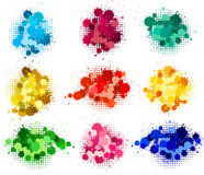 Set of ink blots. And halftones patterns in different colors vector illustration