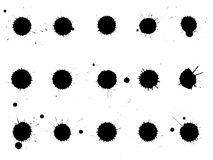 Set of ink blots. Drops and splashes of black paint on white background. Grunge splash textures royalty free illustration