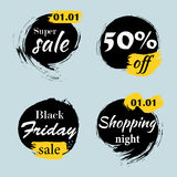 Set of ink brush sale banners. Grunge artistic banners, frames, Stock Images