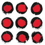 Set of ink brush strokes, circle,round spots Royalty Free Stock Photos