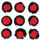 Set of ink brush strokes, circle,round spots Royalty Free Stock Photos