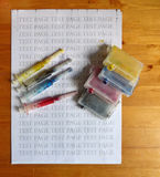Set of Ink cartridges and dirty refill syringes Stock Images