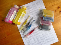 Set of Ink cartridges, refill paints and syringes Royalty Free Stock Photography