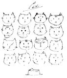 Set of ink cats faces, drawn freehand with liquid dye, emotional, funny, funky, isolated on white. Vector illustration with black Stock Photo