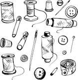 Set of ink drawing needlework equipment Stock Photo