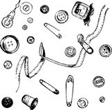 Set of ink drawing needlework equipment Royalty Free Stock Images