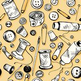 Set of ink drawing needlework equipment Royalty Free Stock Photography