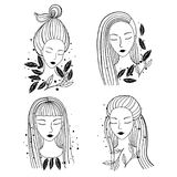 Girls portraits different hairstyle. Set of an ink hand drawn girls portraits with different hairstyle. Cartoon black and white vector illustration Stock Photography