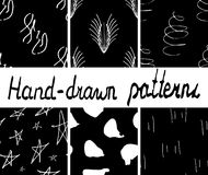 Set of ink hand drawn seamless patterns.Vector illustration Stock Image